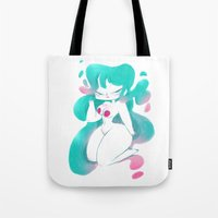 pinup Tote Bags featuring Blue pinup by MissPaty