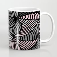gray pattern Mugs featuring Abstract Pattern - Gray & Pink by Georgiana Paraschiv