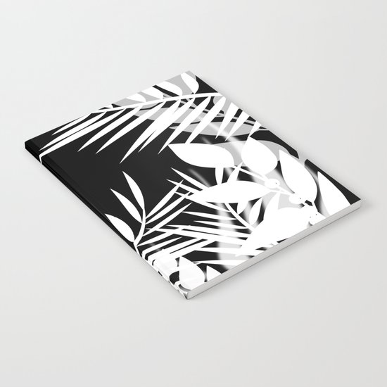 The leaves and berries. Black and white pattern . Notebook