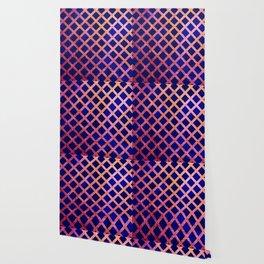 Blue and Gold Geometric Pattern Wallpaper