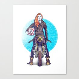 Woman Power rider motorcycle Canvas Print