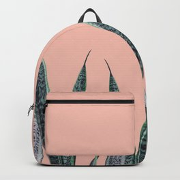 Snake plants in group with beige pink Backpack