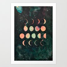 Moon Phases - Lunar Phases - Hipster Moon Phases  Art Print