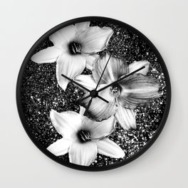 White Lilies on Black Glitter #1 #floral #decor #art #society6 Wall Clock