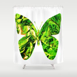 Fluid Butterfly (Green Version) Shower Curtain