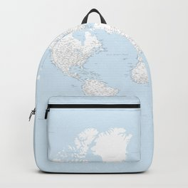 World map, highly detailed in light blue and white, square Backpack