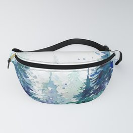 Watercolor winter fir forest Christmas Fanny Pack
