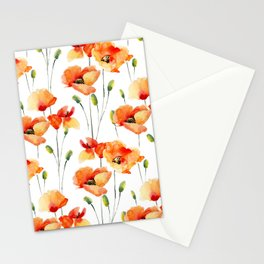 Hand Painted orange yellow watercolor poppies floral Stationery Cards