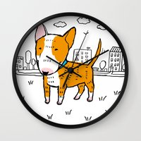 bull terrier Wall Clocks featuring bull terrier by Ellizavetta