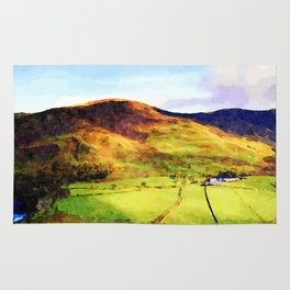 Looking Down to Buttermere Valley, Lake District, UK.  Watercolor Painting Rug