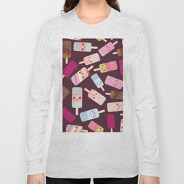summer ice cream, ice lolly  Kawaii with pink cheeks and winking eyes Long Sleeve T-shirt