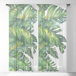 tropical green 2 Sheer Curtain