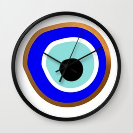 Grecian Gold evil eye in blue on white Wall Clock