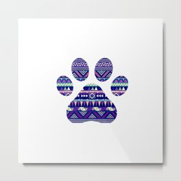 Aztec Paw Print (Dog & Puppy, Animal Lovers) Metal Print