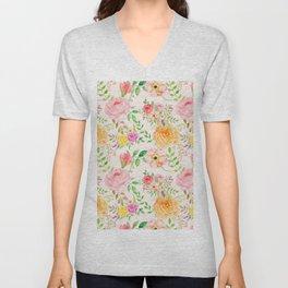 Watercolor Peach Rose Pattern Unisex V-Neck