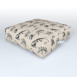 Museum Animals | Dinosaur Skeletons on Cream Outdoor Floor Cushion