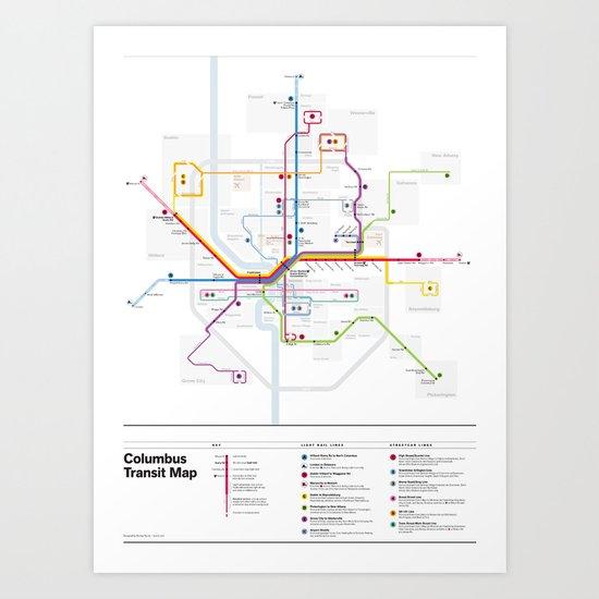 Columbus Transit Map Art Print