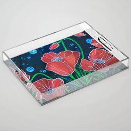 Stylized Red Poppies Acrylic Tray
