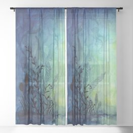 Underwater Ocean Foliage Sheer Curtain