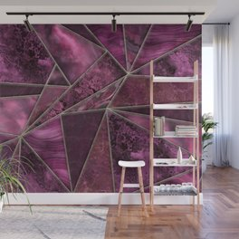 Stained Glass Style Gemstone Marble Fuchsia Burgundy Wall Mural