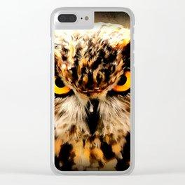 owl look digital painting reacstd Clear iPhone Case