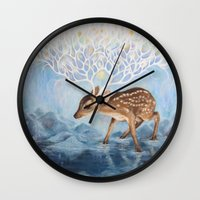 antlers Wall Clocks featuring Antlers by Lucy Yu { Artwork }