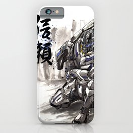 Garrus from Mass Effect sumie style with Japanese calligraphy iPhone Case