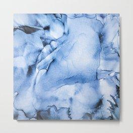 Sapphire Abstract Art   Painting   Watercolour   Splatter   Ocean Vibes Metal Print