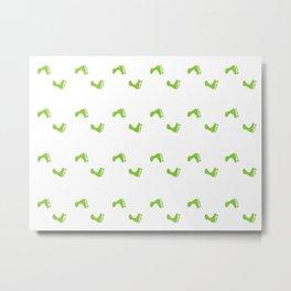 Walk On - Grass Green Feet Pattern Metal Print