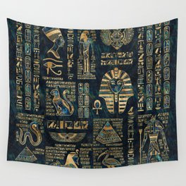 Egyptian hieroglyphs and deities -Abalone and gold Wall Tapestry