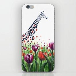 Giraffes in a field of Tulips iPhone Skin