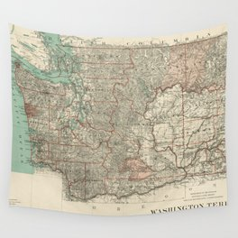 Vintage Map of Washington State (1887) Wall Tapestry
