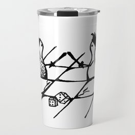 A drawing of two meeples fighting Travel Mug
