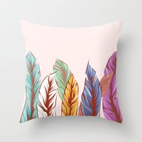 feathers Throw Pillows featuring Feathers by melcsee