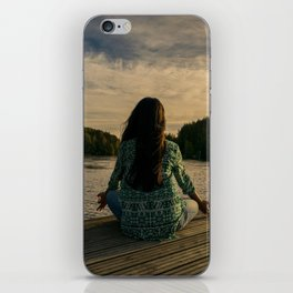 Woman Meditating On Dock By Lake iPhone Skin