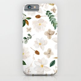 Magnolia Watercolor Floral Pattern iPhone Case