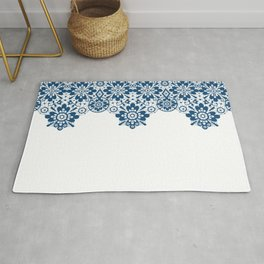 Blue lace on white background . Rug
