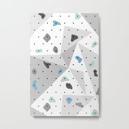 Abstract geometric climbing gym boulders blue mint Metal Print