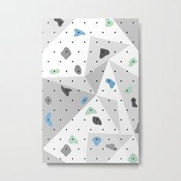 Abstract geometric climbing gym boulders blue mint Metal Print