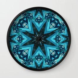 Blue mandala. Ethnic design Wall Clock