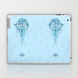 Jellyfish and Beta Fish in a Cyan Seaweed Sea Laptop & iPad Skin