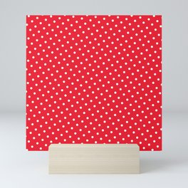 Kissy Flame Kissed Lipstick Retro Red Polka Dot (White) Mini Art Print