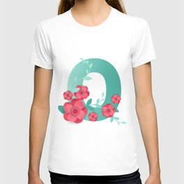 Floral number 0 Made of Flowers. Typographic, Monogram.Paper cut style. T-shirt