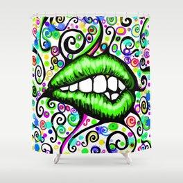 Sexy Lips Green Shower Curtain