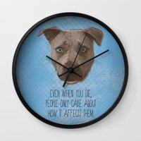 pit bull Wall Clocks featuring Pit Bull Print by Roxy Makes Things
