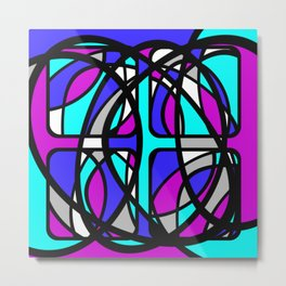 Community II - Purple and Blue Abstract Metal Print