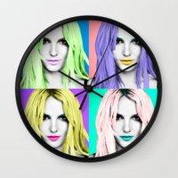 britney Wall Clocks featuring BRITNEY POP by Lovejonny