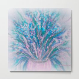 BABY BLUES AND PINK FLOWERS Metal Print