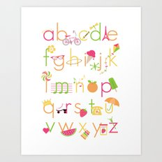 Alphabet for Girls Art Print