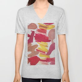 41   | 190408 Red Abstract Watercolour Unisex V-Neck